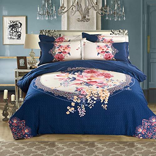 yaonuli warmdruk 2 m vierdelige bruiloftset met vier sets Gion - donkerblauw 2,2 m bed