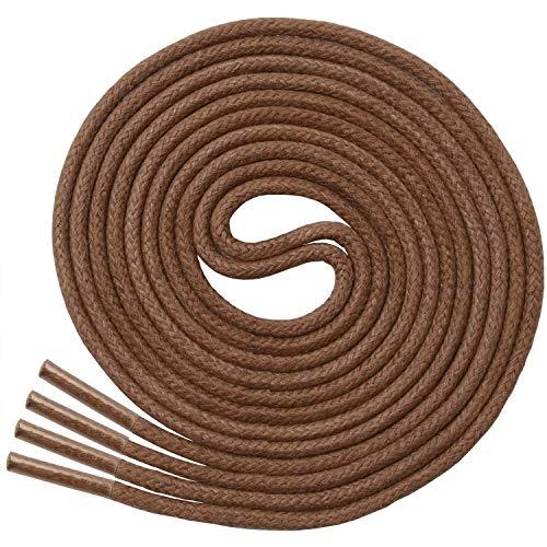 Miscly – Schnürsenkel für Anzugschuhe - Gewachst Rund Reißfest Dünn [3 Paar] – 100% Baumwolle - Ø 2.4 mm (61 cm, Braun)