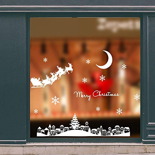 AKmene Christmas glass window display window display holiday home decoration mural stickers wallpaper year stickers 80cmx60cm