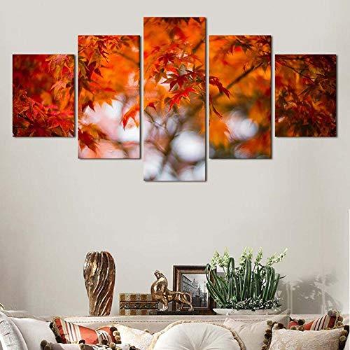 CJFHBVUQ Imprimir Imagen Póster 5 Piezas Chic Art View Leaves Decoracion De Pared Imagen Gráfica Sala De Estar con Marco 80X150Cm