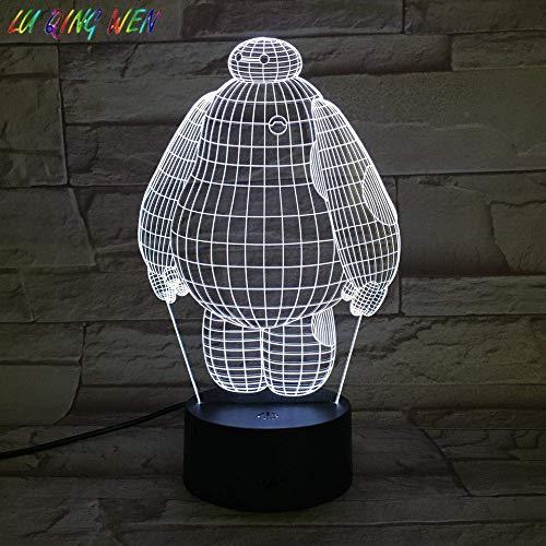 Lámpara de ilusión 3D Luz de noche LED Cool Baby Baymax Big Hero 6 para dormitorio de niños Sensor táctil Cambio de color Niños Regalos de vacaciones de cumpleaños para niños