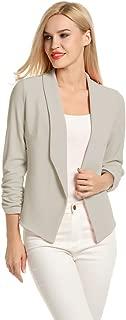 Women 3/4 Sleeve Blazer Open Front Cardigan Jacket Work...