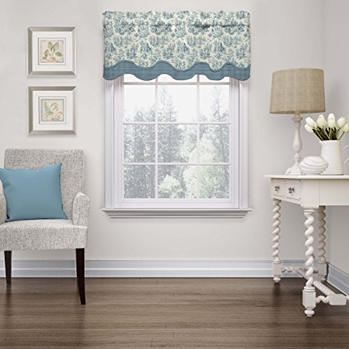 """WAVERLY Valances for Windows - Charmed Life 52"""" x 18"""" Short Curtain Valance Small Window Curtains Bathroom, Living Room and Kitchens, Cornflower"""