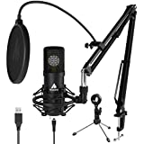 Condenser Microphone 25mm Large Diaphragm MAONO USB Cardioid PC Computer Mic with Two Metal Stand for Podcasting, Gaming, Studio Recording, Streaming, YouTube Video, Voice Over, A425 Plus