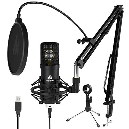25mm Large Diaphragm Condenser Microphone MAONO USB Cardioid PC Computer Mic with Two Metal Stand for Podcasting, Gaming, Studio Recording, Streaming, YouTube Video, Voice Over, A425 Plus