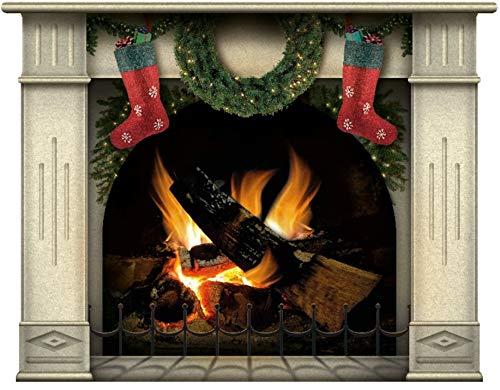 lepni.me Pegatina de Pared Chimenea con Leña ardiente, Llamas de Leña Decoración de Calcomanías de Pared (Medio Navidad Sahara)