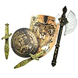 Medieval Knight Retro Plastic Shield & Sword Set for Kids Costume Accessory Game Cosplay LARP and Holloween Prop Brown
