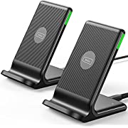 INIU Wireless Charger 2-Pack, Qi-Certified 15W Fast Wireless Charging Stand with Sleep-friendly Adaptive Light & Dual Charging Modes for iPhone 12 11 Pro X XR 8 Plus Samsung Galaxy S20 S10 S9 Note S10