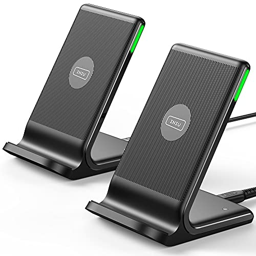 Wireless Charger, INIU [2 Pack] 15W Qi-Certified Fast Wireless Charging Stand with Sleep-Friendly...