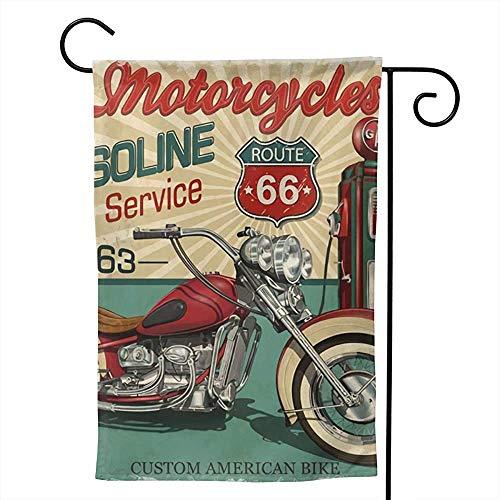 Vintage Essence Route 66 Klassieke motorfiets, biker, tuin, vlag, verticaal dubbelzijdige boerenhuis, zomer, ererf, outdoor-decor Vlaggen S(48X32) Zoals op de afbeelding.