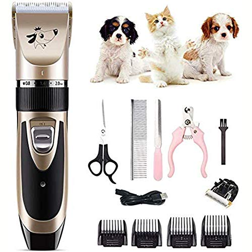 Professionele Elektrische Tondeuse Fader Kat Geschoren Hond Haar Huisdier Hond Scheerapparaat Elektrische Trimmen Oplaadbare Voet Hair,Gold