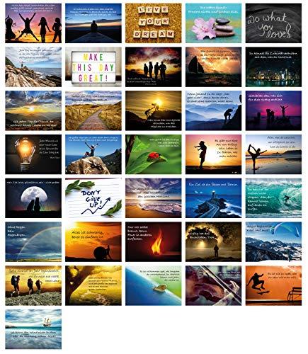 Clever Pool 36 Postkarten Lebensweisheiten Motivationskarten Coaching Material I Grußkarten Set Bilder mit Weisheiten I Spruchkarten Mix motivierende Zitate Geschenke Achtsamkeit Bildkarten Gefühle