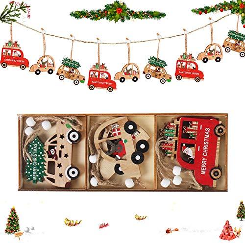 9PCS Decorazioni Natalizie Artigianato, Ciondolo Albero di Natale, Legno Pendenti Natalizi Decorazioni , Legno di Natale Addobbi, Albero Fai da Te Ciondoli, Decorazioni Albero, Legno Decorazione (C)