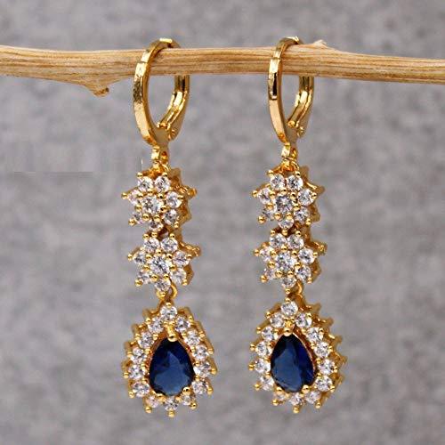 HoopsEarringsForWomen,Fashion Blue Water Drop Zircon Long Pendant Hoop Earrings Hypoallergenic Lightweight Hoop Ring Circle Jewelry Earrings For Women Girls Party Wedding