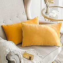MIULEE Terciopelo Funda de Cojine Funda de Almohada del Sofá Throw Cojín Decoración Almohada Caso de la Cubierta Decorativo Almohadas para Sala de Estar 30x50cm 12'x20' 2 Pieza Amarillo Anaranjado