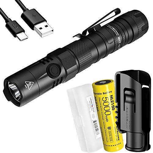 Nitecore MH12 v2 1200 Lumen USB-C wiederaufladbare taktische Taschenlampe mit 5000 mAh Akku und LumenTac Akkuhülle