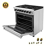 Thor Kitchen 36 inch Freestanding Pro-Style Professional Gas Range with 6.0 cu.ft. Oven, 6 Burners, in Stainless Steel - LRG3601U + LP Conversion Kit