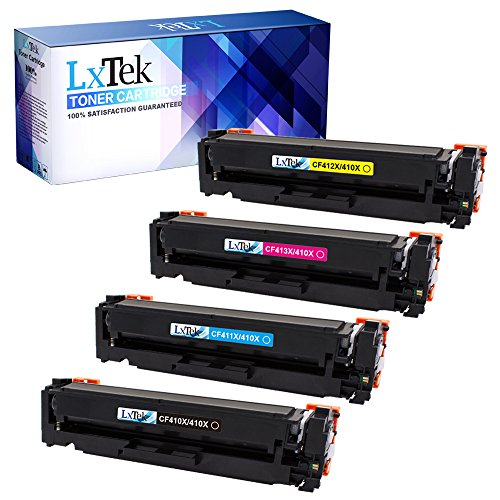 LxTek Compatible Toner Cartridge Replacement Set for HP 410X High Yield (1 Black|1 Cyan|1 Magenta|1 Yellow) CF410X CF411X CF413X CF412X for use in HP Pro M477fdw M477fnw M477fdn M452dn M452dw M452nw