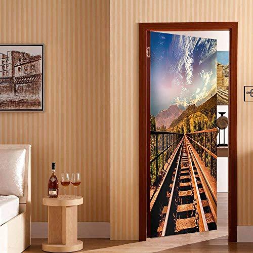 Türtapete Selbstklebend TürPoster Mehrere Szenen 3D Türaufkleber Abnehmbar Wandtapete Wohnzimmer PVC Wasserdichte Wallpaper Wandwandaufkleber.Bergbrücke90 x 200 cm