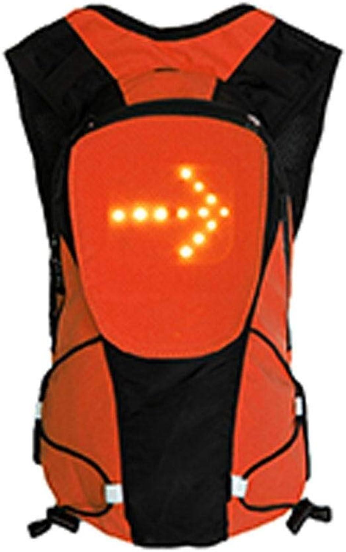 FWLJ Unisex Fahrradrucksack LED Warnlicht Sicherheit Rücksignal USB Drahtlose Fernbedienung LED Weste Tasche Fahrradtasche (Orange)