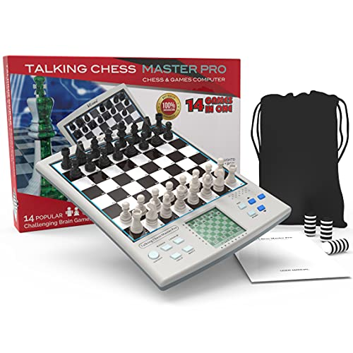 iCore Chess Set, Travel Magnetic Chess and Checkers Set Board Games, Electronic No Stress Magnetic Chess Set, Chess Set for Kids or Adults Chessboards Game