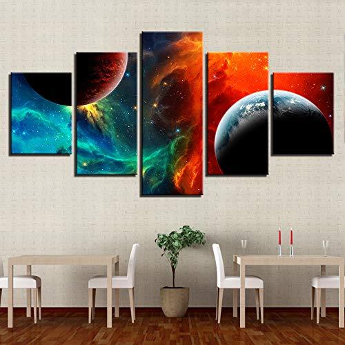 mmwin Lienzo HD Impreso Imágenes Arte de la Pared 5 Piezas Universo Tierra Planeta Paisaje Pintura Nebulosa Modular Carteles Decoración para el hogar
