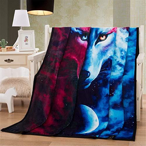 WONGS BEDDING Kuscheldecke Flanell Mikrofaser 150x200cm 3D Wolf Decke Gedruckte Fleecedecke Weich Wohndecke Tagesdecke Dicke Sofadecke zweiseitige Decke Sofa und Bett