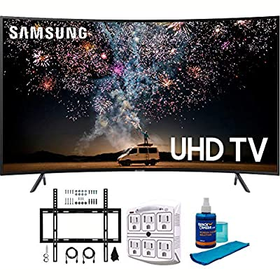 Samsung RU7300 HDR 4K UHD Smart Curved LED TV (2019 Model) with Wall Mount Bundle Includes Screen Cleaner + 6-Outlet Surge Adapter + Flat Wall Mount Kit Ultimate Bundle for 45-90 TVs
