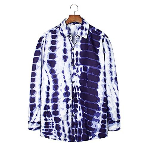 WZHZJ Camisa hawaiana de moda para hombre, a rayas, de manga larga, con solapa, ropa de calle de verano, vacaciones en la playa (Color : Blue, Size : L code)