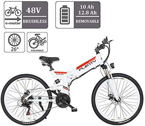 Bici electrica, Modo de 26 pulgadas bicicleta plegable eléctrica con 48V 12.8Ah extraíble de iones de litio E-bici de tres a caballo 350W motor y E-ABS doble freno de disco de bicicleta eléctrica