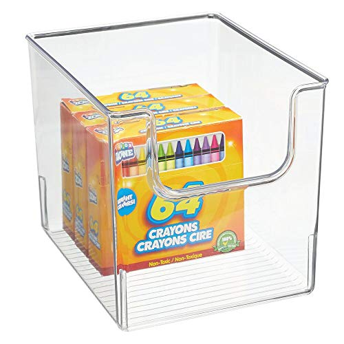 mDesign Plastic Open Front Craft, Sewing, Crochet Storage Container Bin - Compact Organizer and Holder for Thread, Beads, Ribbon, Glitter, Clay, Crayons, Markers, Glue - Clear