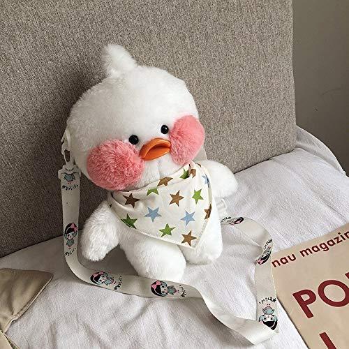 FDRE 29cm Carino Anatra Peluche Zaino Kawaii Peluche Borsa Messenger Bambola Borsa da Scuola Monospalla Regalo per Ragazze White