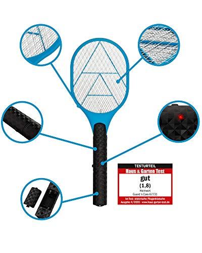 HEIMWERT elektrische Fliegenklatsche I extra stark I Elektrischer Insektenvernichter Anti Mücken Wespen Moskito Killer I besonders schnell und sicher (BLAU)