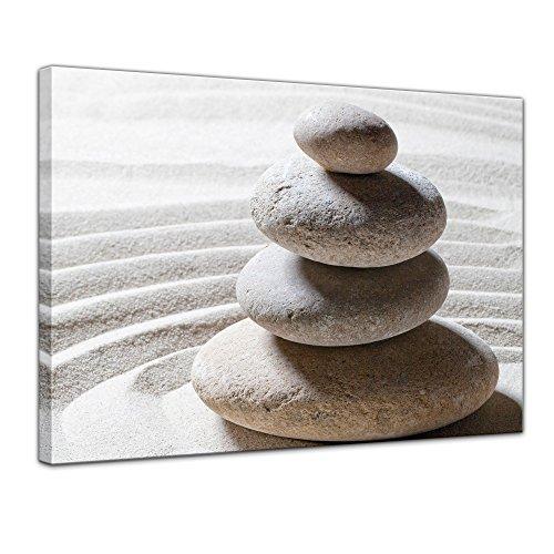 Wandbild - Relaxing - Bild auf Leinwand 80 x 60 cm - Leinwandbilder Bilder als Leinwanddruck Geist & Seele Zen Steine auf Sand