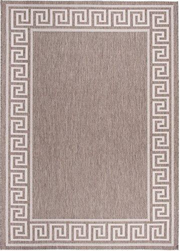 Carpeto Sisal Teppich Taupe 140 x 200 cm Bordüre Muster Flachgewebe Sisal Kollektion