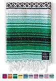 Mexican Blanket, Falsa Blanket | Authentic Hand Woven Blanket, Serape, Yoga Blanket | Perfect Beach Blanket, Navajo Blanket, Camping Blanket, Picnic Blanket, Saddle Blanket, Car Blanket (Forest)