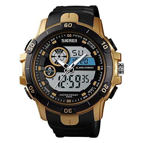 JTTM Big Face - Reloj De Pulsera para Hombre con Luz De Fondo LED, Alarma, Resistente Al Agua, Reloj Deportivo,Oro