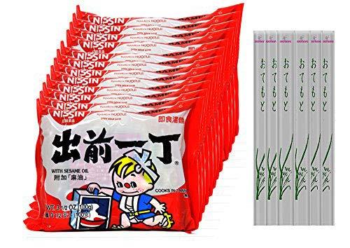 Nissin Ramen Noodle, Instant Noodles Sesame Oil Flavor With Soup Base, 12 Pack (Sesame)