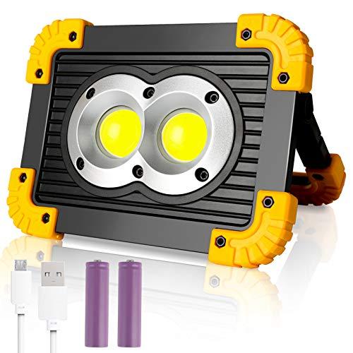 wolketon 20W Akku LED Arbeitsstrahler, 4 Lichtmodi, mit Powerbank-Funktion, Tragbares USB Wiederaufladbares Akku Flutlicht Arbeitslicht, 180°Verstellbar, IP65 Wasserdicht für Garage Camping Fischen