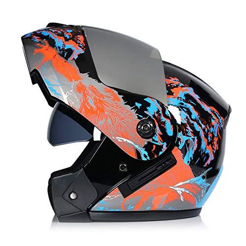 IAMZHL 2020 Neuer hochklappbarer Motorradhelm Motorrad Modulares Motocross Moto Helm Crash Integralhelm mit Zwei Linsen Casco Moto Casque-a65-XL