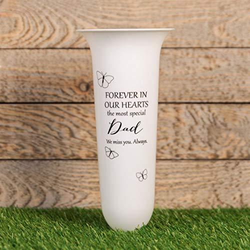 Widoop & Co Vase für Grabstätige/Gedenktafel, Kunststoff, mit Spitze, Weiß