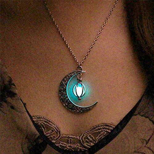 Genglass Vintage leuchtende Perlen Anhänger leuchtende Perlen Halskette Silber Mond Halsketten Schmuck für Frauen und Mädchen