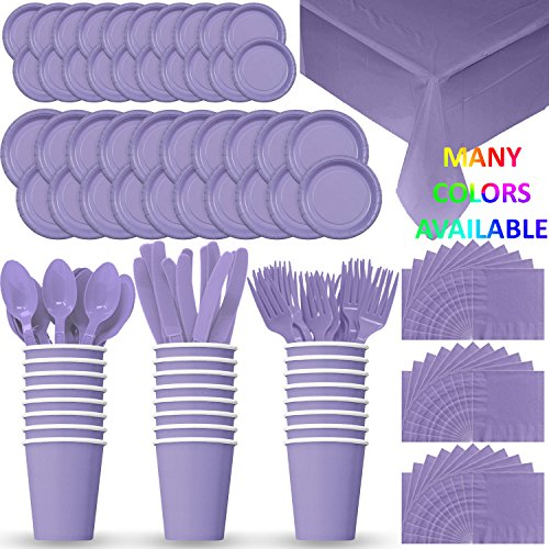 HeroFiber Disposable Paper Dinnerware for 24 - Lavender - 2 Size Plates, Cups, Napkins , Cutlery (Spoons, Forks, Knives), and tablecovers - Full Party Supply Pack
