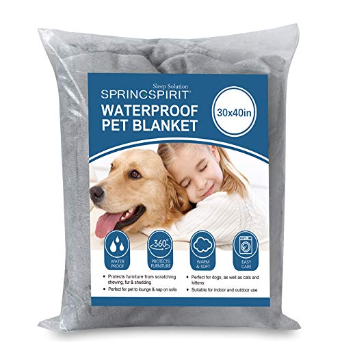 SPRINGSPIRIT Waterproof Dog Blanket ,30''x40'' Fleece Blanket with Super Soft Flannel, Minky and Warm Sherpa, Plush Blanket on Dog Bed, Cat Cover, Pet Mats for Cars, Machine Washable, Grey