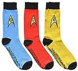 Star Trek Blue Red Yellow Uniform Emblems Men's Crew Socks 3 Pair Pack