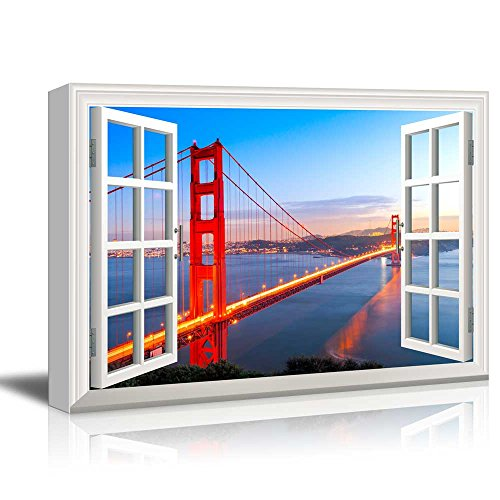 Window View Golden Gate Bridge in San Francisco at Evening Gallery 16x24 inches
