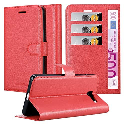 Cadorabo Hülle für Samsung Galaxy J4 Plus in Karmin ROT - Handyhülle mit Magnetverschluss, Standfunktion & Kartenfach - Hülle Cover Schutzhülle Etui Tasche Book Klapp Style