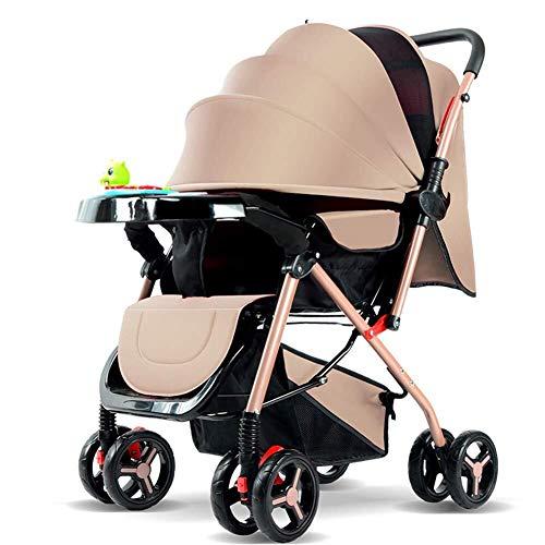 MAMINGBO Cochecito y silla de paseo for cochecito de bebé, carrito plegable ligero, con arnés de seguridad de 5 puntos y asiento reclinable de múltiples posiciones, cochecito de cuna (Color : Beige)