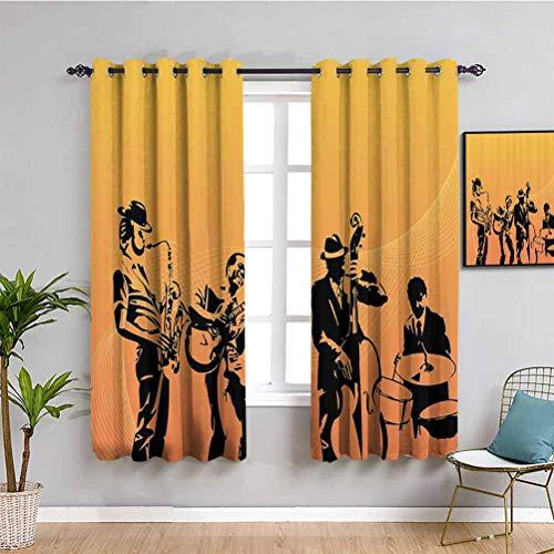 Jazz Music Decor Farmhouse cortina silueta de jazz cuarteto interpretación en escenario pasión acústica estilo antiguo arte muebles de protección mostaza negro W108 x L84 pulgadas