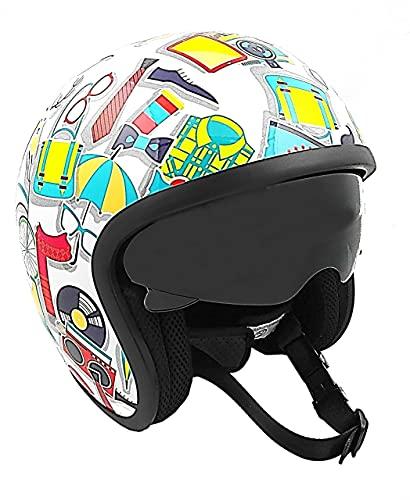 KEN ROD Origine Sprint | Casco Moto Origine | Casco per moto | Jet Helmet Sprint | Casco moto aperto | Casco Jet Open | Multicolore | Misure S